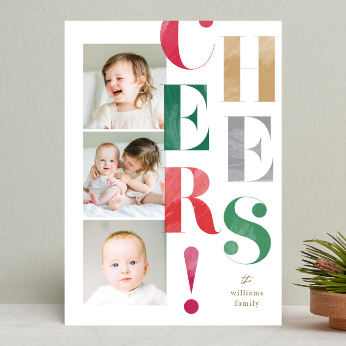 """""""Painted Type"""" - Holiday Photo Cards in Snow by Robert and Stella."""