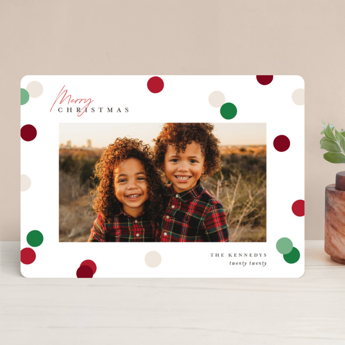 """Christmas Dots"" - Modern Holiday Photo Cards in Cardinal by Pixel and Hank."