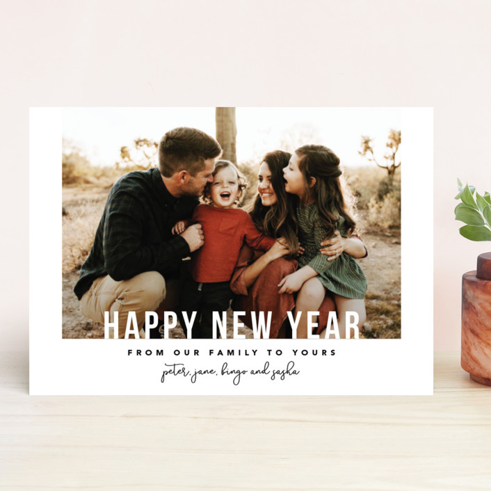 """""""From Our Family"""" - Holiday Photo Cards in Cherry by Laura Hamm."""