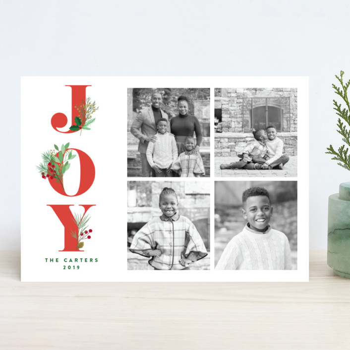 """""""Joy Greenery"""" - Holiday Photo Cards in Ruby by curiouszhi design."""