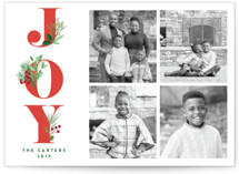 This is a red holiday photo card by curiouszhi design called Joy Greenery with standard printing on smooth signature in standard.