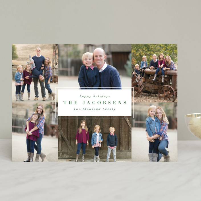 """""""minimal nameplate"""" - Holiday Photo Cards in Evergreen by Kate Ahn."""
