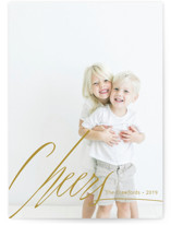 This is a brown holiday photo card by Claire Abbiyesuku called Big Cheers with standard printing on smooth signature in standard.