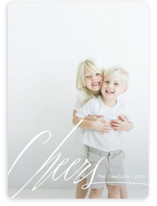 This is a white holiday photo card by Claire Abbiyesuku called Big Cheers with standard printing on smooth signature in standard.