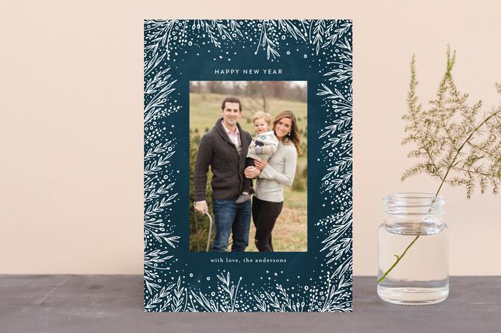 """Filigree Frame"" - Holiday Photo Cards in Midnight by Phrosne Ras."