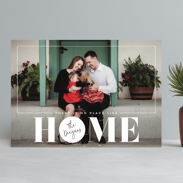 """""""No Place Like Home"""" - Holiday Photo Cards in Linen by Erin Deegan."""