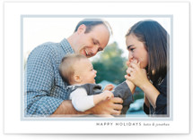 This is a blue holiday photo card by Jessica Williams called Softest Frame with standard printing on smooth signature in standard.
