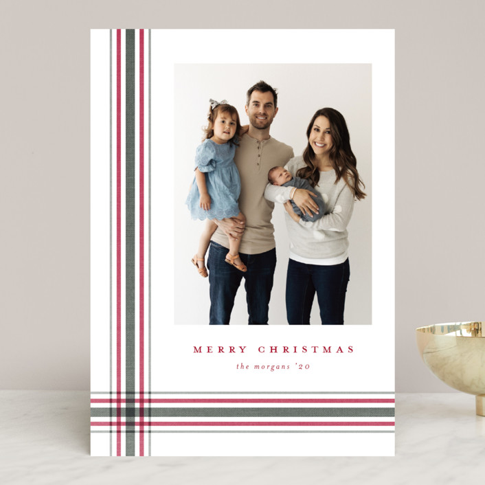 """""""Modern Plaid"""" - Holiday Photo Cards in Poinsettia by Stacey Meacham."""