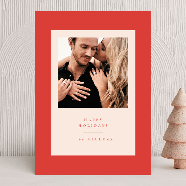 """Modern Classic Holiday"" - Modern, Vintage Holiday Photo Cards in Blush by Nazia Hyder."