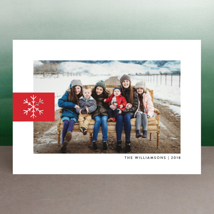 """Snowflake Tab"" - Holiday Photo Cards in Poinsettia by Ellis."