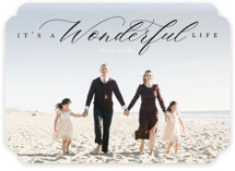 This is a black holiday photo card by Heather Cairl called It's A Wonderful Life with standard printing on smooth signature in standard.