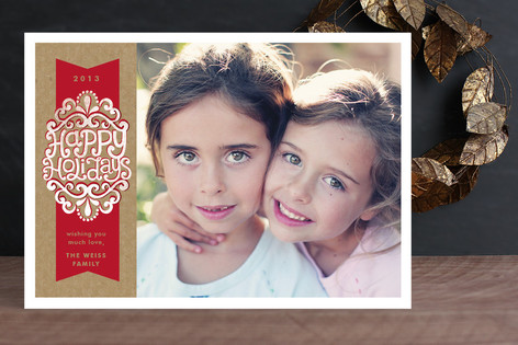 Kraft Ribbon Holiday Photo Cards