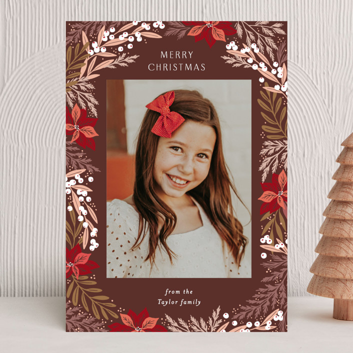 """""""Poinsettia Leaves Pattern"""" - Holiday Photo Cards in Wine by Alethea and Ruth."""