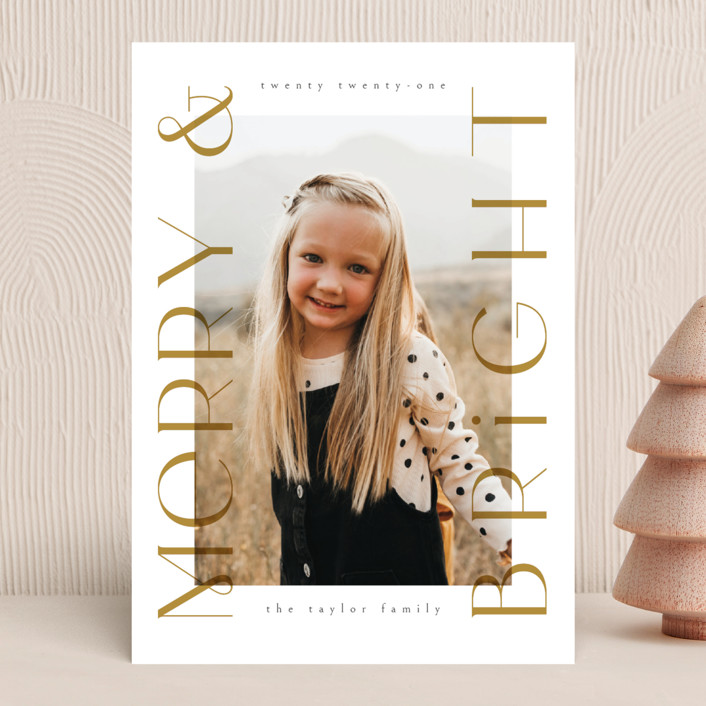 """""""Merriest&Bright"""" - Holiday Photo Cards in Golden by Ana de Sousa."""