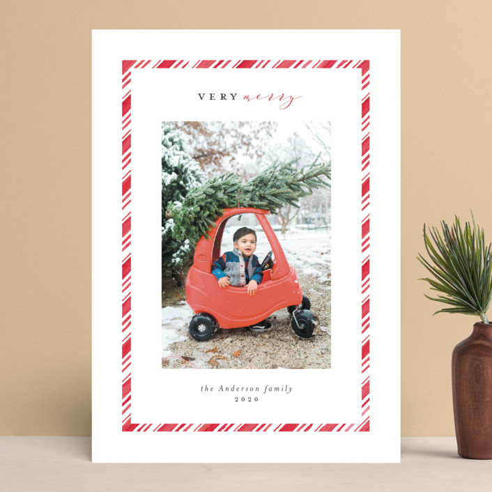 """""""Peppermint"""" - Vintage Holiday Photo Cards in Peppermint by Stardust Design Studio."""