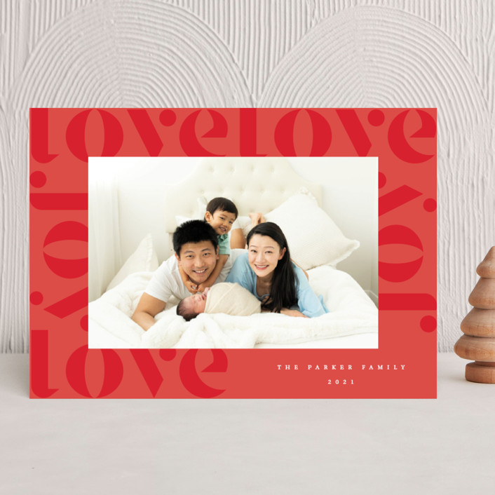 """""""Love Joy"""" - Holiday Photo Cards in Holly Berry by Kann Orasie."""