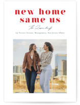 This is a red holiday photo card by Mansi Verma called New Home Same Us with standard printing on signature in standard.
