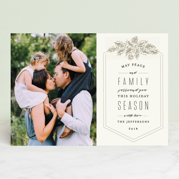 """Peace and Family"" - Vintage Holiday Photo Cards in Taupe by Chris Griffith."