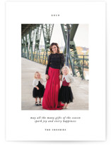 This is a black holiday photo card by That Girl Press called Avec Joie with standard printing on smooth signature in standard.