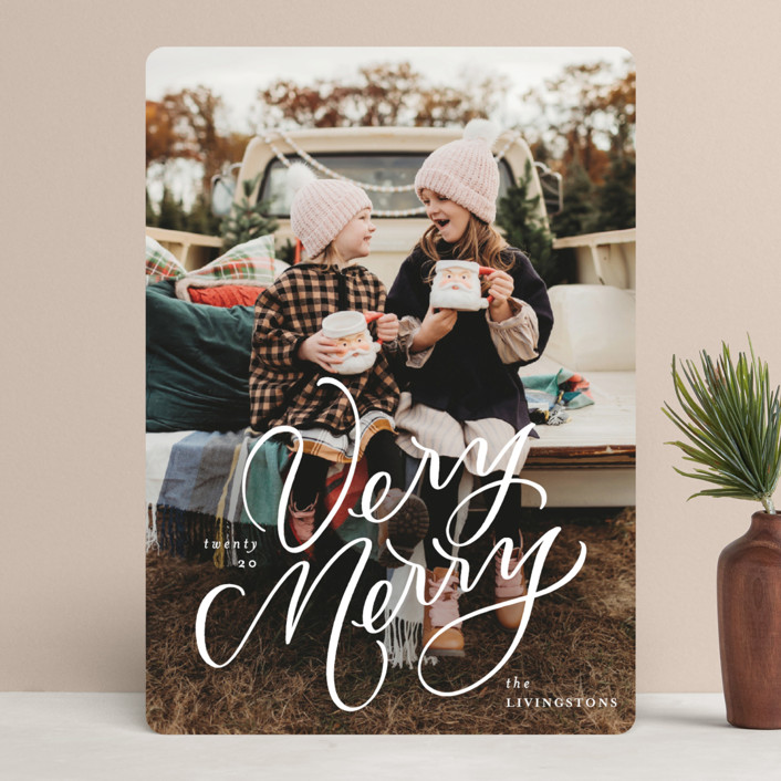 """""""Very Merry Lettering"""" - Holiday Photo Cards in Snow by Erin German."""
