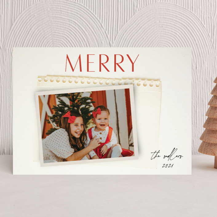 """""""Nostalgia"""" - Holiday Photo Cards in Holly Berry by Morgan Kendall."""