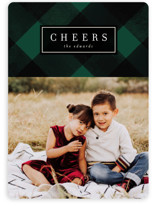 This is a green holiday photo card by Baumbirdy called Joyful Plaid with standard printing on smooth signature in standard.
