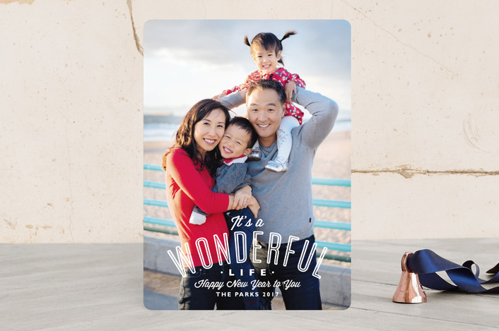 """""""A Wonderful Life"""" - Bold typographic, Full-Bleed Photo Holiday Photo Cards in Snow by Alston Wise."""