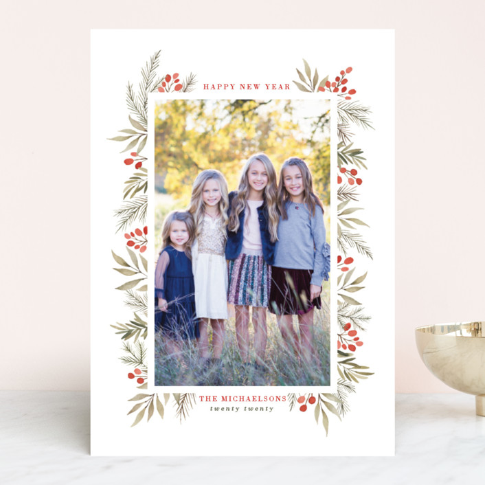 """Berries + Pine"" - Holiday Photo Cards in Cranberry by Wildfield Paper Co.."