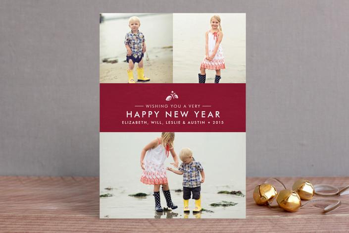 """Splendid Pinecone"" - Elegant, Minimalist Holiday Photo Cards in Merlot by Pistols."