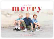 This is a red holiday photo card by Shari Margolin called Color Me Merry with standard printing on smooth signature in standard.