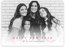 This is a red holiday photo card by Pine and Lark called jubilance with standard printing on smooth signature in standard.