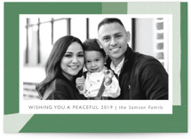 This is a green holiday photo card by Betsy Siber called Holiday Shapes with standard printing on smooth signature in standard.