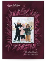 This is a red holiday photo card by Jessica Corliss called Rich and Romantic Botanical with standard printing on smooth signature in standard.