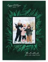 This is a green holiday photo card by Jessica Corliss called Rich and Romantic Botanical with standard printing on smooth signature in standard.