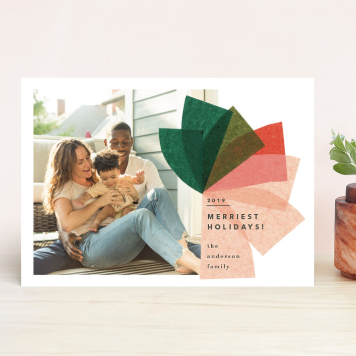 """mod bow"" - Modern Holiday Photo Cards in Blush by Carrie Moradi."