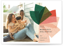 This is a green holiday photo card by Carrie Moradi called mod bow with standard printing on smooth signature in standard.