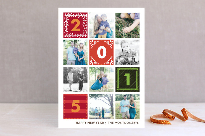 """Quilted"" - Bold typographic Holiday Photo Cards in Hunter by Griffinbell Paper Co.."
