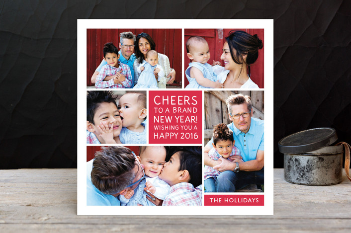 """""""Family Framed"""" - Modern, Minimalist Holiday Photo Cards in Berry by Jill Means."""