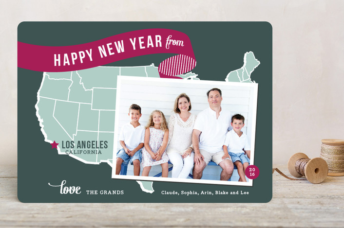 """Holiday Map - West Coast"" - Cities & States, Modern Holiday Photo Cards in Violet by Jill Means."