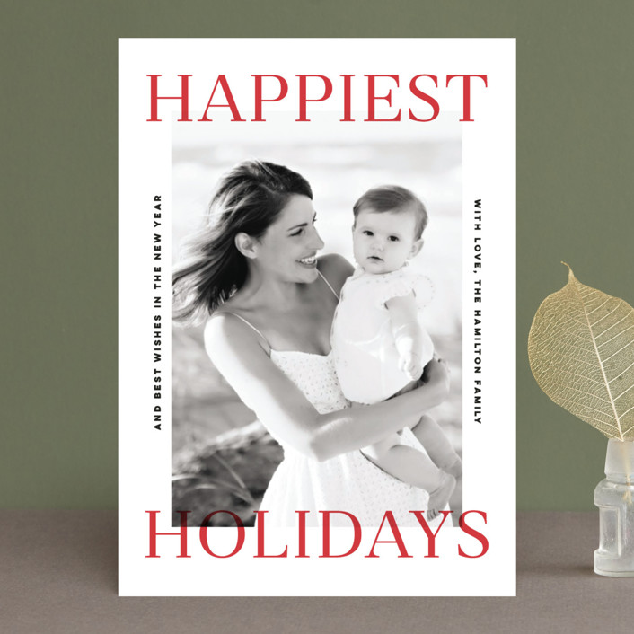 """""""Happiest Holidays"""" - Holiday Photo Cards in Berry by Pink House Press."""