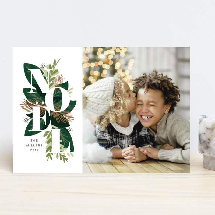 """""""Noel Greenery"""" - Holiday Photo Cards in Evergreen by JeAnna Casper."""