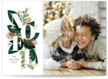 This is a green holiday photo card by JeAnna Casper called Noel Greenery with standard printing on smooth signature in standard.