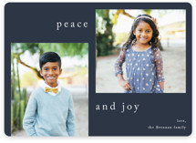 This is a blue holiday photo card by Jennifer Lew called Sway with standard printing on smooth signature in standard.
