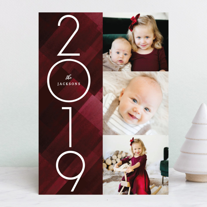 """Marker Buffalo Plaid"" - Holiday Photo Cards in Cranberry by Baumbirdy."