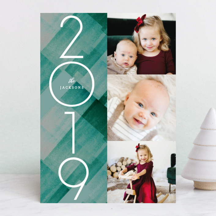 """""""Marker Buffalo Plaid"""" - Holiday Photo Cards in Cranberry by Baumbirdy."""
