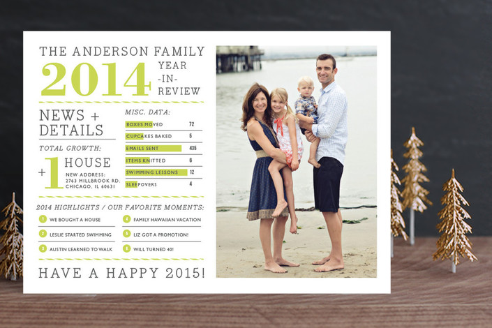 """Family Year in Review"" - Modern, Bold typographic Holiday Photo Cards in Pear by j.bartyn."