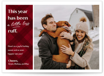 This is a red holiday photo card by Erin German called Ruff Year with standard printing on smooth signature in standard.
