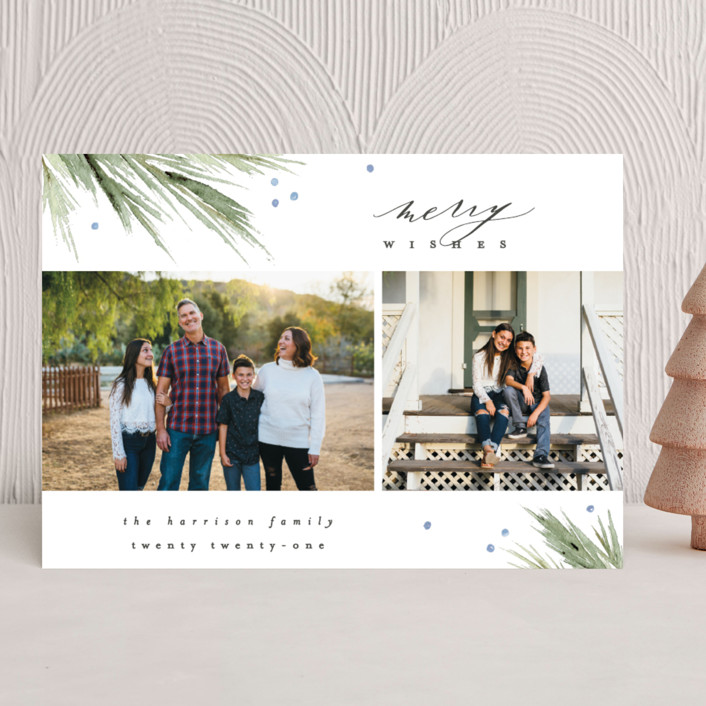 """""""Delicate Boughs"""" - Holiday Photo Cards in Azure by Everett Paper Goods."""
