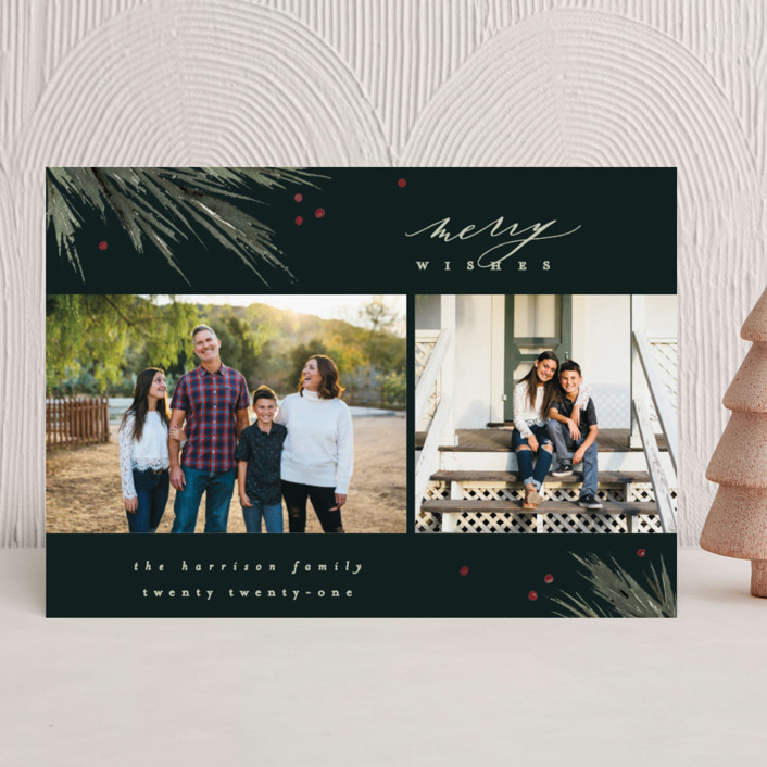 """""""Delicate Boughs"""" - Holiday Photo Cards in Forest by Everett Paper Goods."""