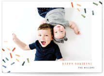 This is a blue holiday photo card by Kelly Ventura called Joyful Confetti with standard printing on smooth signature in standard.